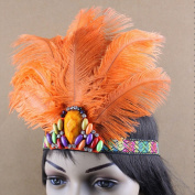 Women's Handmade Indian Feather Fascinator Headband, Fascinator Headpieces for Fancy Party, Cocktail Hat with Headband