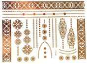 Gold Silver Metallic Temporary Tattoos, Flash Tattoo, Foot chains , rings, bracelets - YS-49