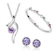 Authentic Austrian Crystal Jewellery Sets Wedding Engagement Jewellery Sets, Necklace/ Earing / Bracelet, purple
