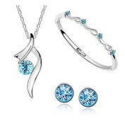 Authentic Austrian Crystal Jewellery Sets Wedding Engagement Jewellery Sets, Necklace/ Earing / Bracelet, blue
