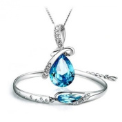 Sterling silver models Austrian crystal platinum angel tears drop necklace + glass slipper bracelets suit, blue