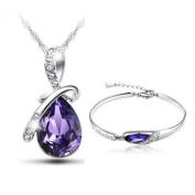 Sterling silver models Austrian crystal platinum angel tears drop necklace + glass slipper bracelets suit, purple