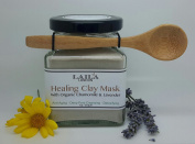 Healing Clay Mask Powder: Organic Chamomile & Lavender For Exfoliation & Cleansing *With Bamboo Spoon*Premium Sea Ocean Ingredients