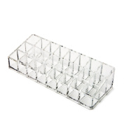Accmart(TM) Lipstick Brush Organiser Cosmetic Holder Box with 24 Sections Clear