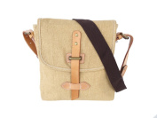 Men's Small Casual Canvas and Leather Cross Body Shoulder Bag Everyday Satchel Bag