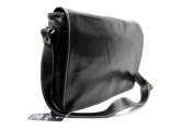 Mens Ladies Black Real Leather Messenger Satchel College, Uni, office Laptop bag