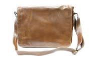 Mens Ladies Tan Real Leather Messenger Satchel College, Uni, office Laptop bag