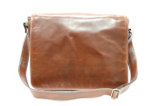Mens Ladies Burnish Brown Real Leather Messenger Satchel College, Uni, office Laptop bag