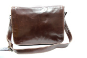 Mens Ladies Brown Real Leather Messenger Satchel College, Uni, office Laptop bag
