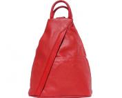 """FIRENSE - Casual Elegance, Cool City Backpack, Shoulder Bag, Soft Leather, 26 × 32 × 10 cm """"Denver"""" Red"""