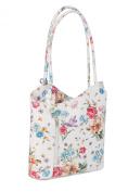 BELLI® Italian Handbag Women Shoulder Bag Backpack 2in1 Genuine Leather White Patterned - 28x28x8 cm