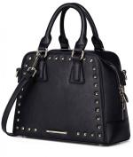Nucelle Real Genuine Leather Black Ladies Studded Designer Handbag with Long Adjustable Shoulder Strap