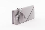 Clutch Pearl Grey with Ribbon, ideal for wedding and ceremonies