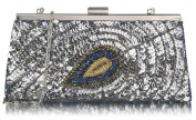 Ladies Quality Sequin Peacock Feather Design Clutch Bag Women's Fashion Designer Elegant Evening Party Bag CWE00295