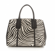 Real Leather Case, Fellltasche Bag with Real Fur Trim in Zebra-Look, Black