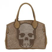 Rose-Skully Bag-Shopper Handbag with Glitter Skull with Rhinestones and Silver Studs