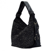 Trendy Glitter Rhinestones Handbag Shopper XL with Rivets / current collection