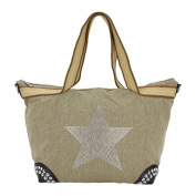 Rose-Stella-XL Shopper bag handbag with Glitter Rhinestone Linen Canvas