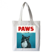 Yngve the Cat PAWS Tote Bag, 100% Cotton, White