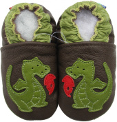 Carozoo Fire Dragon Brown Soft Sole Leather Baby Toddler Kids Shoes