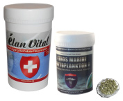 Ethos 100% Pure Elan Vital™ 100g Bulk Discount Tub & Marine Phytoplankton 120 Vegan Friendly Capsules Combination Pack - This is the most powerful combination ever of two incredible products which fight all degenerative diseases and are trul ..
