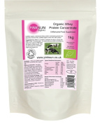 Organic Whey Protein Powder 1kg - Soy Free Whey - Grass Fed Hormone Free - PINK SUN Certified Organic Whey Unflavoured Bulk