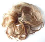 Larger Size Feather hair bun scrunchie wrap LIGHT BROWN WITH BLONDE HIGHLIGHTS