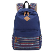 Yiuswoy Casual Fashion Style Lightweight Canvas Laptop Backpack For Travel And School - Navy Blue