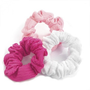 Sufias Accessories 3 x Soft Pink White No Print Hair Elastics Scrunchie Bobble Scrunchy Head Girls