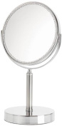 Danielle Creations Crystal Rimmed Pedestal Chrome Mirror x 5 Magnified 18.8cm
