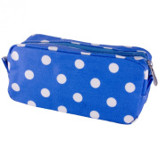 Leonardo Blue Polka Dot Pencil Case Style Cosmetics Bag Wipe Clean Oil Cloth