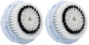 Replacement Brush Head for Delicate Skin Cleaning. For Fragile, Delicate or Dry Skin. Works on Face and Body. Compatible with Clarisonic MIA, MIA 2, ARIA, PRO, PLUS Cleansing Systems - Twin Pack