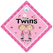 Twins On Board, Pink Flower, Twins on board sign,Twins on board Car Sign, Pink Flower, Baby on Board, Car Sign, Bumper Sticker Style, Baby on board, Twin girls