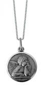 Beautiful Sterling Silver Medallion depicting Raphael style Angel. Perfect for young child. With presentation case
