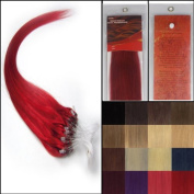 50cm Straight Loops Micro Ring Beads Tipped Human Hair Extenions 100S Red Women Beauty Hairsalon Style Design 0.5g/s