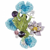 Ever Faith Austrian Crystal Frog Lotus Flower Brooch Multicolor Silver-Tone N03140-1