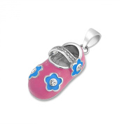 Bling Jewellery Pink and Blue Cubic Zirconia Baby Shoe Pendant 925 Silver