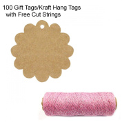 Wrapables 100 Flower Gift Tags/Kraft Hang Tags with Free Cut Strings for Gifts, Crafts & Price Tags + Cotton Baker's Twine 4ply 110 Yard, Pink/Metallic Silver