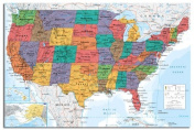 USA United States Map Wall Chart Poster - 91.5 x 61cms