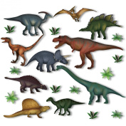 10 Dinosaur & Jurassic Plant Window Clings by Articlings® - Non-adhesive Static Stickers - Out of This World Decorations