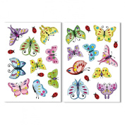 18 Art Deco Style Butterflies & 8 Ladybird Window Clings by Articlings® - All Different Colours - Non-adhesive Stickers Quickly Decorate and Brighten your Windows