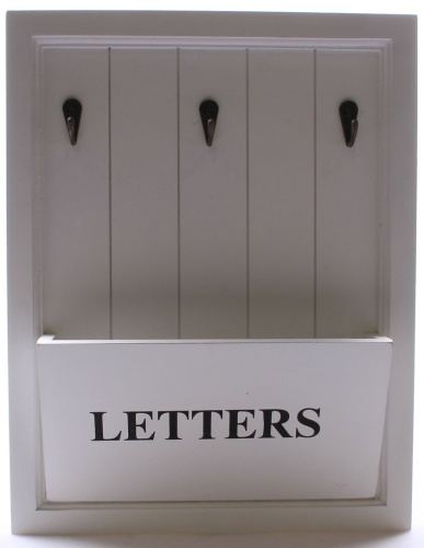 Wooden white letter holder rack with 3 key hooks letter and key rack shipping - Wooden letter and key holder ...
