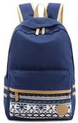 Ladies Vintage Canvas Backpack Retro Vintage backpack for outdoor camping picnic Sports University backpack schoolbag Darkblue