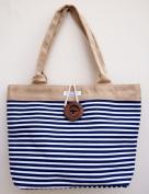Stripe Canvas Tote Bag Vintage Button Holiday Beach Shoulder Handbag