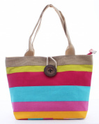 Stripe Canvas Tote Bag Vintage Button Holiday Beach Shoulder Handbag