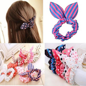 5x Cute Girls Rabbit Ear Hair Tie Bands Ropes Ponytail Holder