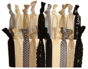 """Hair Ties Ponytail Holders - 20 Pack """"Evening Lace"""" Black Tan Blonde Silver No Crease Ouchless Elastic Styling Accessories Pony Tail Elastics Holder Ribbon Bands - By Kenz Laurenz"""