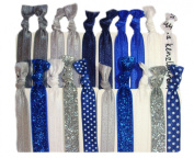 """Hair Ties Ponytail Holders - 20 Pack """"Blue Ice"""" with Silver Glitter and Blue Polka Dots No Crease Ouchless Elastic Styling Accessories Pony Tail Elastics Holder Ribbon Bands - By Kenz Laurenz"""