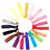 NIPOO 20 PCS No Crease Elastic Hair Ties Ponytail Holders Ribbon Accessories