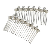 Darice VL8801 Pearl and Crystal Accent Metal Combs, Silver, 2 Per Pack